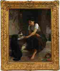 EMILE MUNIER OIL PAINTING ON CANVAS, 1879
