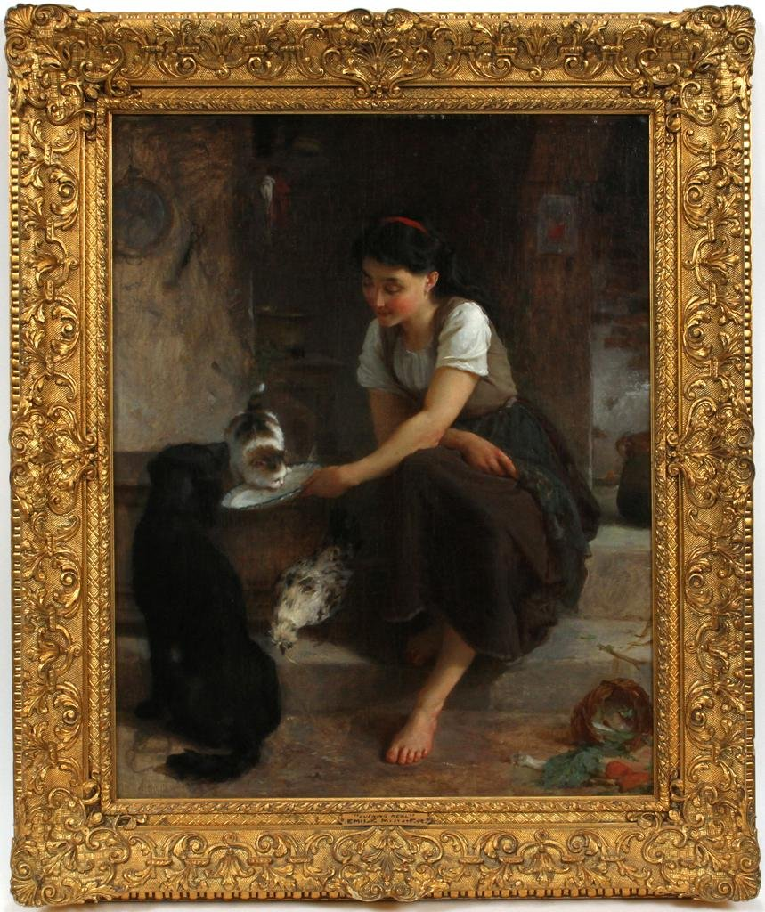 EMILE MUNIER OIL PAINTING ON CANVAS, 1879