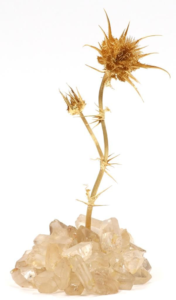 ILIAS LLAOUNIS 18KT YELLOW GOLD THISTLE SCULPTURE