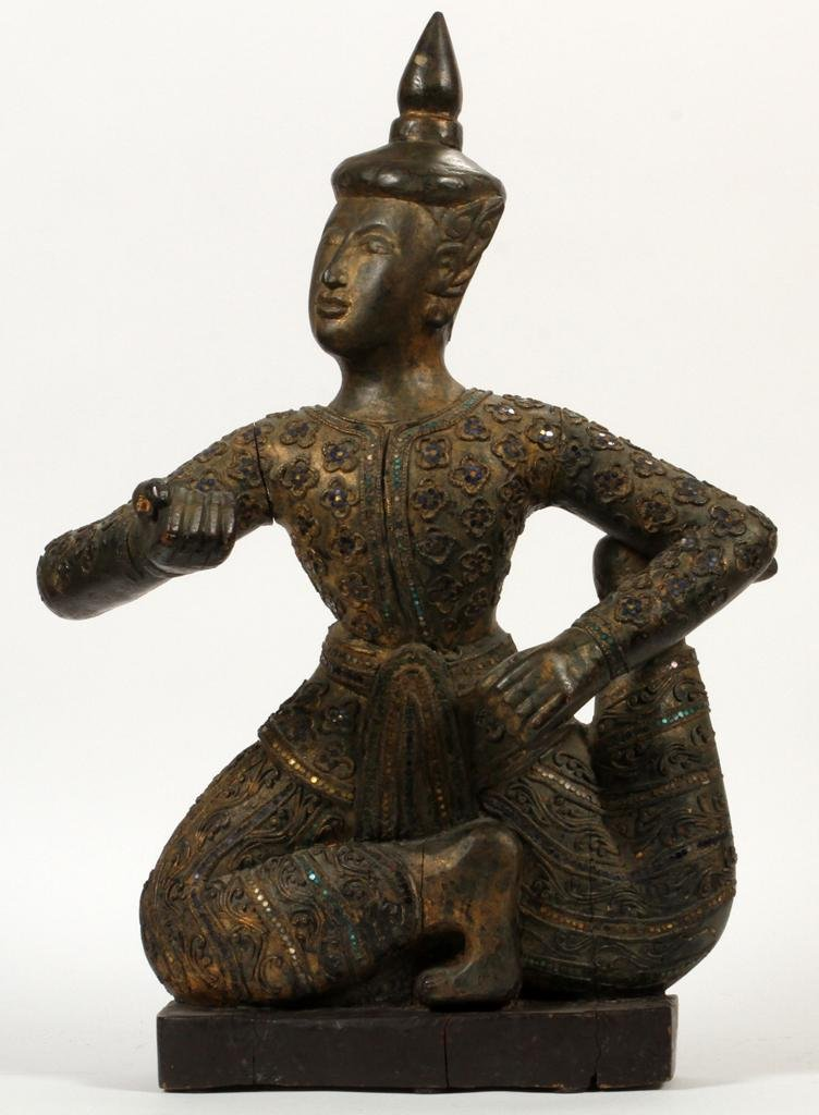 THAILAND CARVED WOOD SCULPTURE, 19TH C.