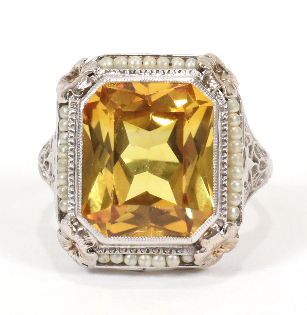 8 CT. YELLOW SAPPHIRE AND 14 KT WHITE GOLD RING