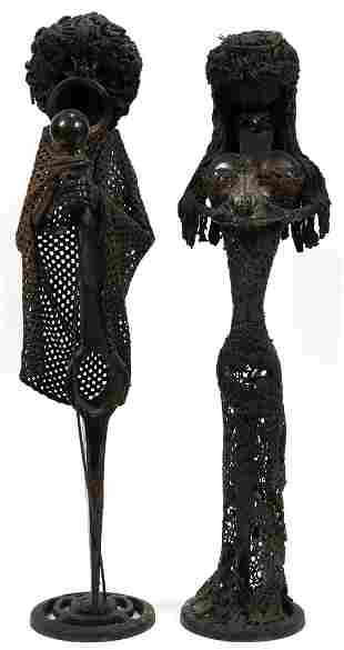 MODERN MIXED MEDIA IRON SCULPTURES IN THE ROUND