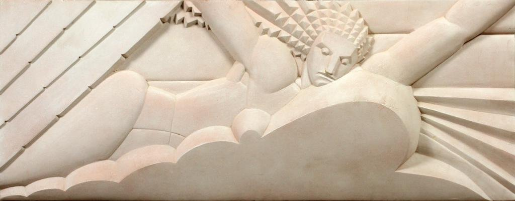 DUDLEY, ART DECO, PLASTER WALL RELIEF, MID 20TH C, H 14