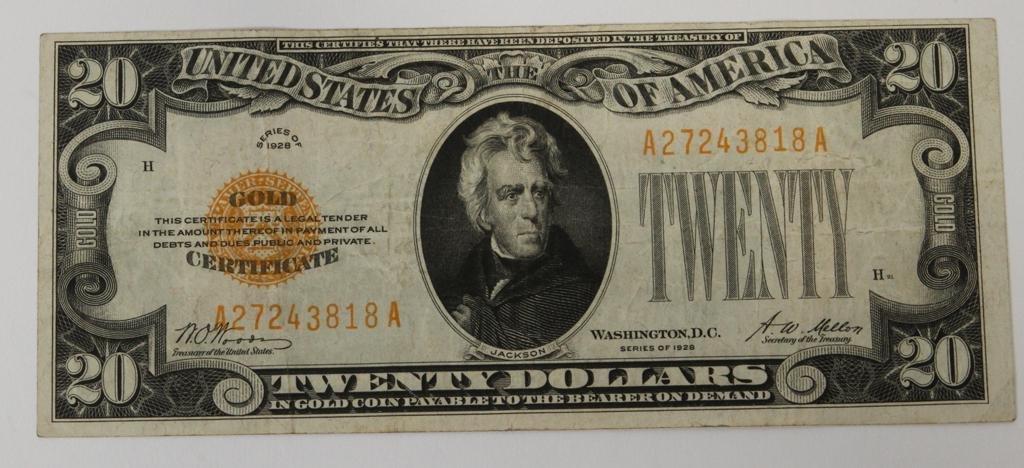 U.S. $20.DOLLAR GOLD CERTIFICATE 1928