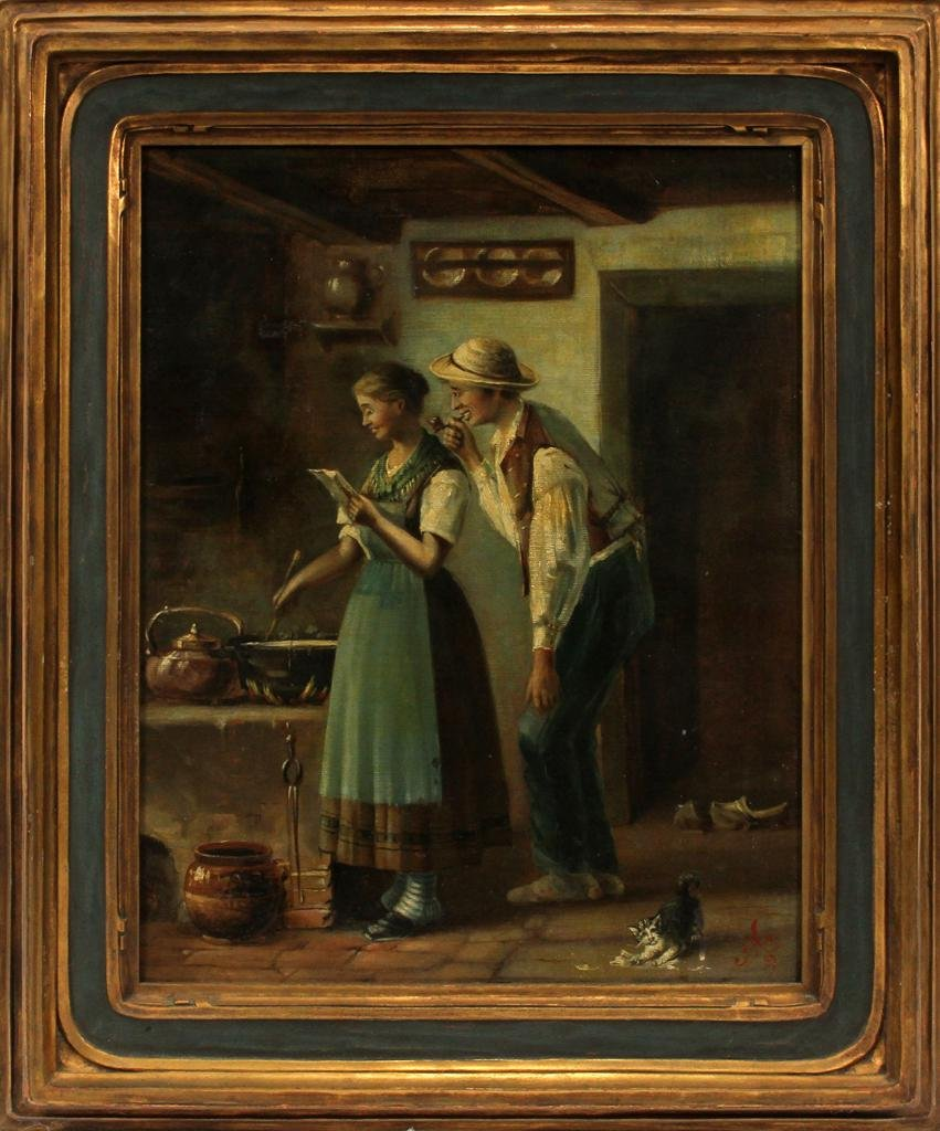 F.H. OIL ON CANVAS, 1889, DUTCH INTERIOR SCENE