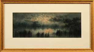 """EDWARD H. VAUGHAN WATERCOLOR ON PAPER, """"NOCTURNE"""""""