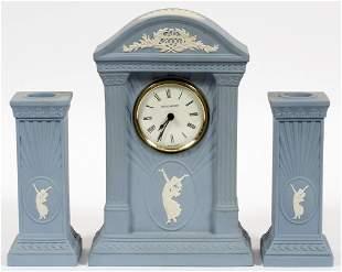 WEDGWOOD JASPERWARE POTTERY CLOCK CANDLESTICKS