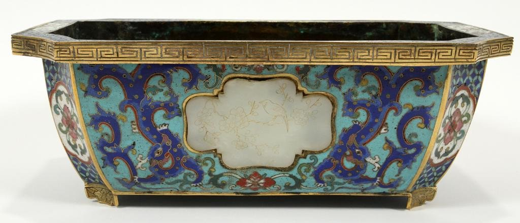 """CHINESE CLOISONNE & WHITE JADE PLANTER, H 4"""" W 11"""""""