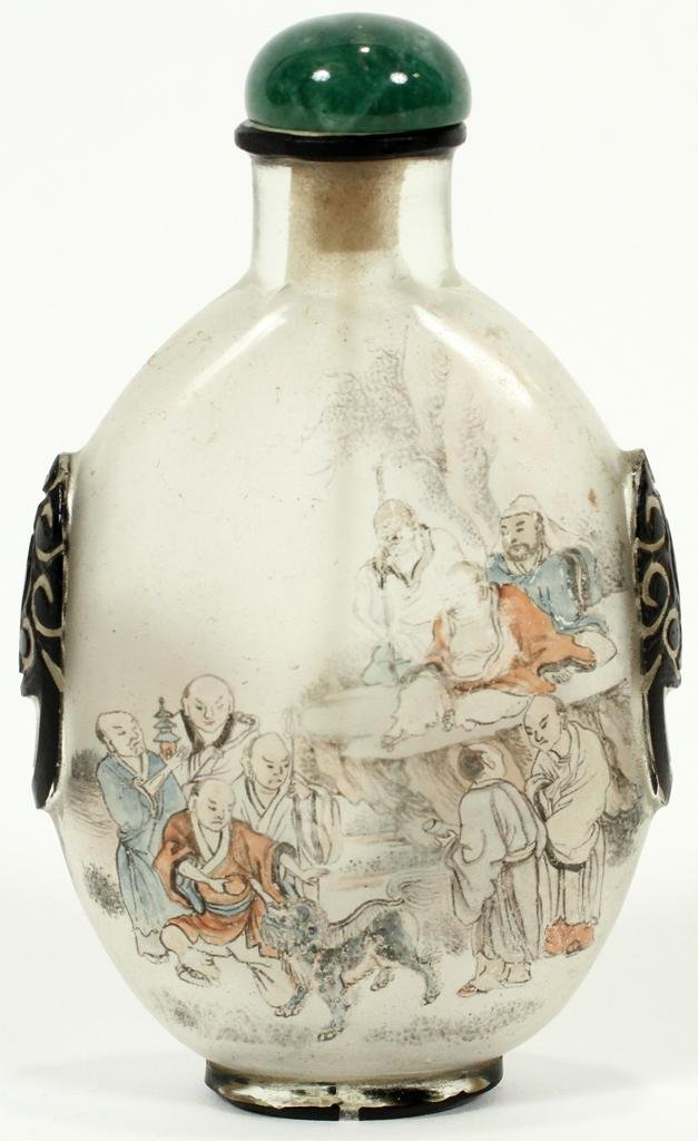 """CHINESE REVERSE PAINTED SNUFF BOTTLE, H 4"""", W 2.5"""""""