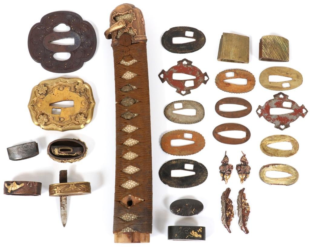JAPANESE TSUBAS & SWORD MOUNTINGS, 19TH C, 27 PCS