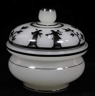 BLOWN ART GLASS CLAM BROTH COVERED DISH