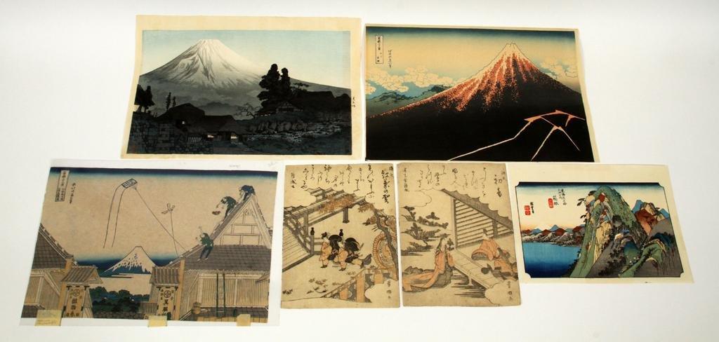 JAPANESE WOODBLOCK PRINTS, 6 PCS