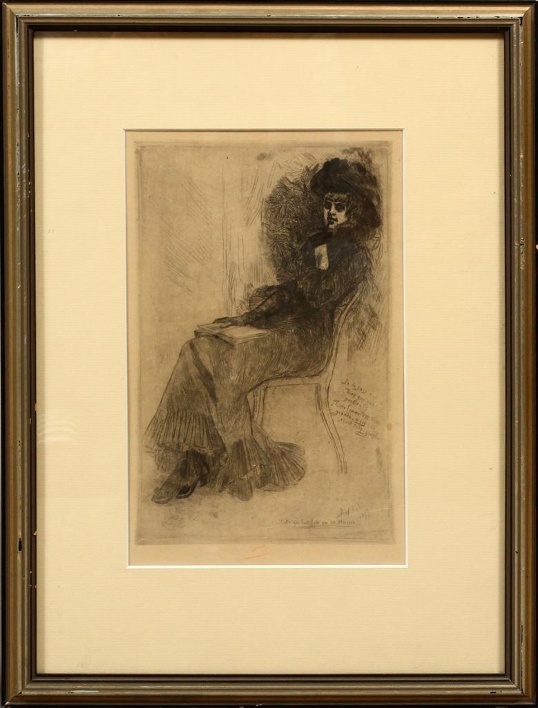 FELICIEN ROPS (BELGIAN, 1833-98), ETCHING ON PAPER, 187