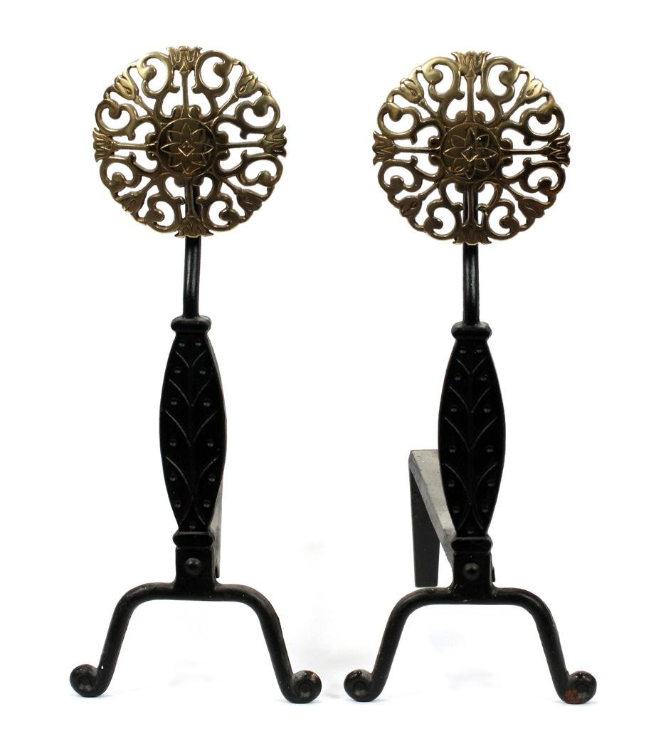"""MODERN FRENCH STYLE IRON ANDIRONS, PAIR, H 20"""""""