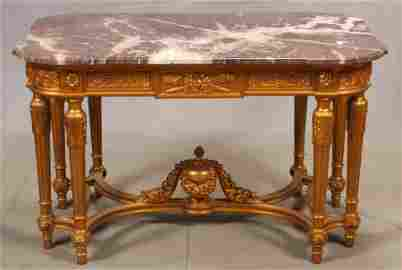 LOUIS XVI STYLE CARVED GILTWOOD TABLE