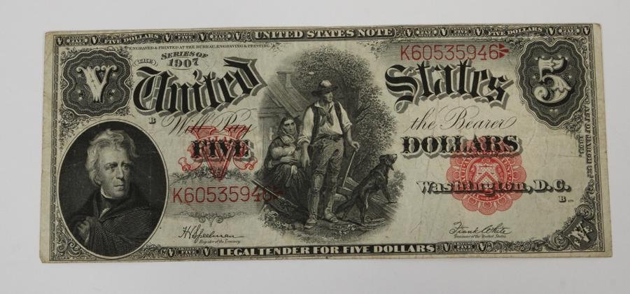 U.S., $5.00 DOLLAR LARGE NOTE, 1907, RED SEAL