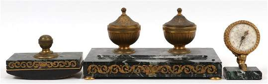 FRENCH, EMPIRE STYLE BRONZE & MARBLE DESK SET