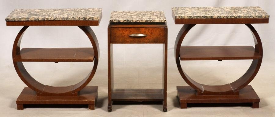 ART DECO INFLUENCE GRANITE TOP END TABLES