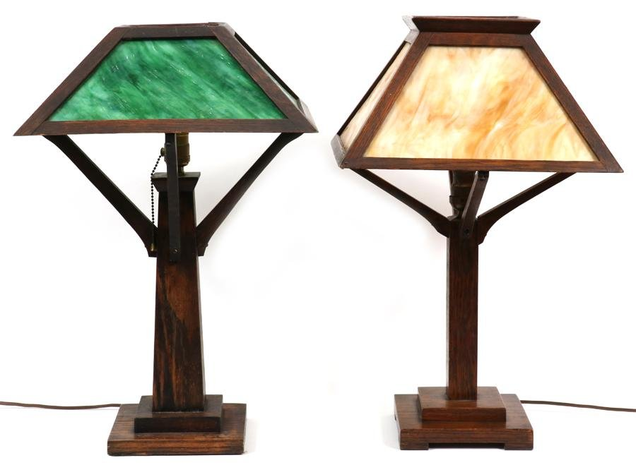 ARTS AND CRAFTS PERIOD SLAG GLASS TABLE LAMPS