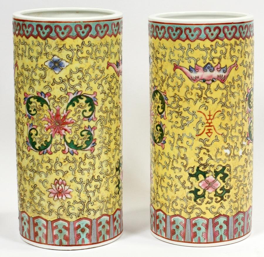 CHINESE, PORCELAIN, CYLINDRICAL VASES, 19TH C.