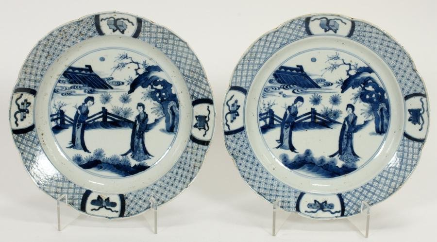 CHINESE QING BLUE ON WHITE PORCELAIN PLATES