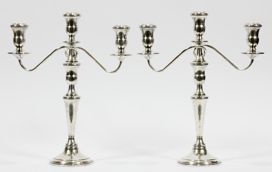 REED & BARTON STERLING 3 LIGHT CANDELABRA, PAIR