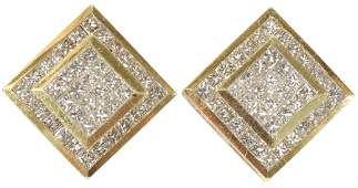 DIAMOND AND GOLD SQUARE SHAPED EARRINGS