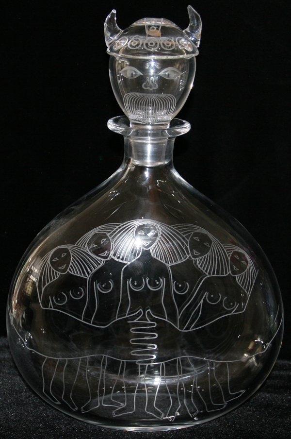 """060001: ORREFORS CRYSTAL DECANTER W/NUDE WOMEN H 16"""""""
