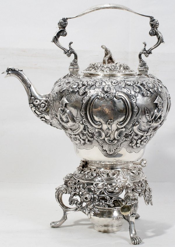 060004: GEORGE III STERLING HOT WATER KETTLE ON STAND