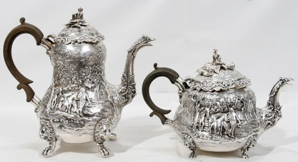 060005: GEORGE IV STERLING TEA POT & COFFEE TWO PCS