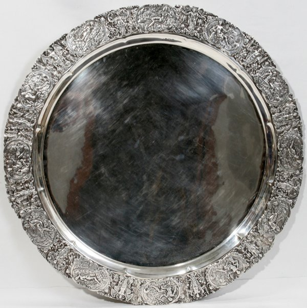060008: EDWARDIAN STERLING SILVER ROUND TRAY 1908
