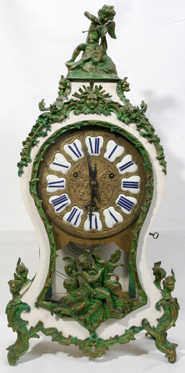 """060012: FRENCH BRONZE AND WOOD CLOCK, C. 1900, H 38"""""""