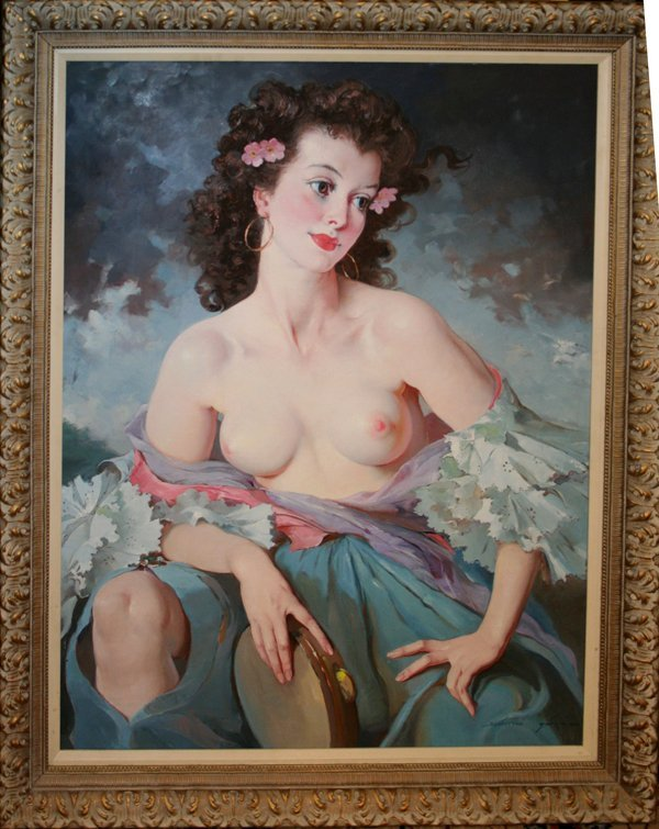 060023: MARIA SZANTHO OIL PARTIAL NUDE GYPSY WOMAN