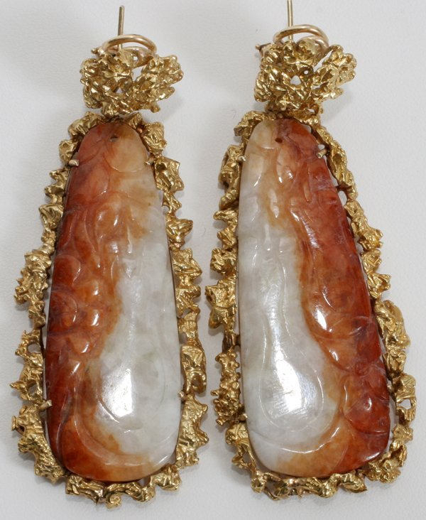 """060094: 14KT YELLOW GOLD AND JADE EARRINGS, L 3"""""""