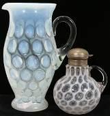 060377: VICTORIAN OPALINE GLASS PITCHER & SYRUP