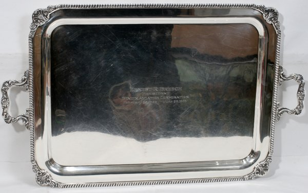 """061007: STERLING SILVER SERVING TRAY 1946, W 17 1/2"""""""
