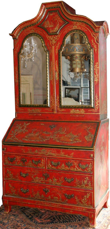 061012: ENGLISH RED-JAPANNED & GILT BUREAU BOOKCASE