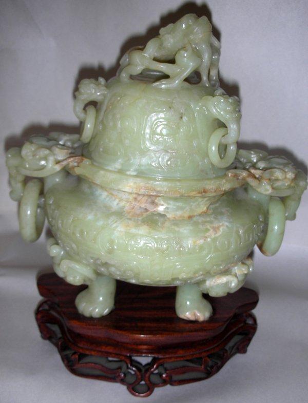 """061015: CHINESE MUTTON FAT JADE KORO, H 7 1/2"""", W 8"""""""