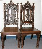 061048 ENGLISH GOTHIC REVIVAL OAK SIDE CHAIRS