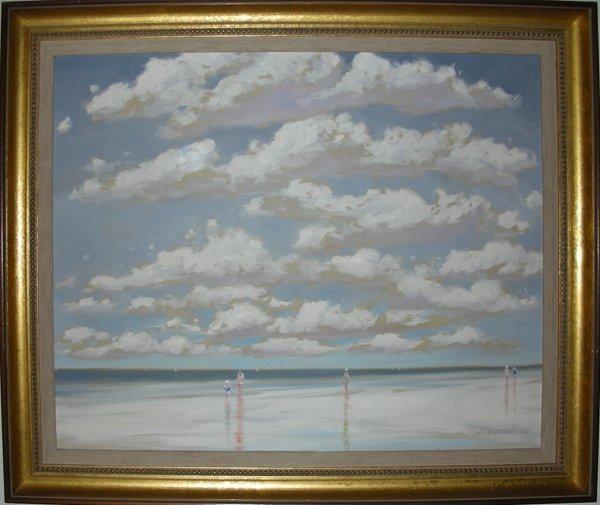 062016: ANDRE GISSON OIL ON CANVAS BEACH SCENE