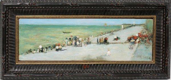 062019: ALBERT AUBLET OIL BEACH SCENE WITH FIGURES