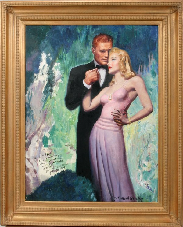 062024: MCCLELLAND BARCLAY OIL ON CANVAS YOUNG COUPLE