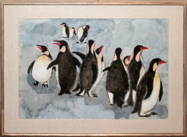 "062048: CHARLES CULVER PASTEL, 1963 ""PENGUINS"""