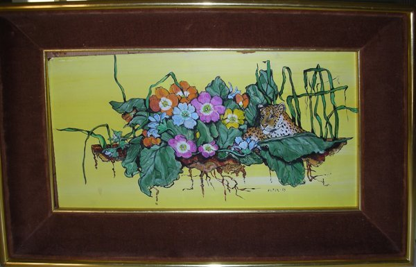 062122: FLEUR COWLES PAINTING LEOPARD AMONGST FLOWERS