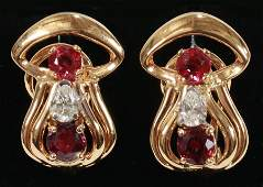 RUBY, DIAMOND, GOLD, OMEGA CLIP WITH POST EARRINGS