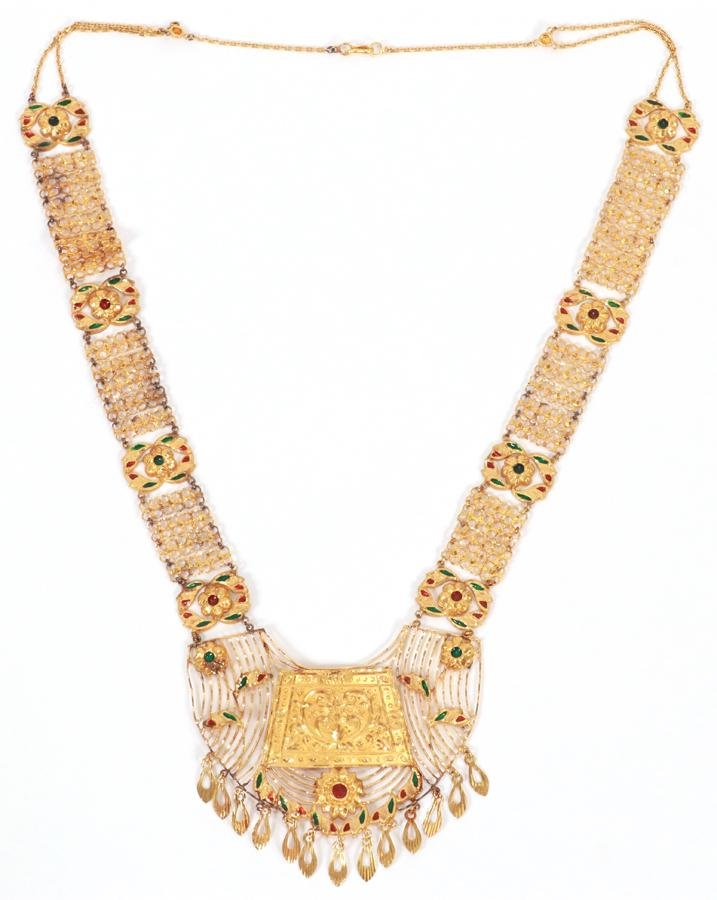 INDIAN, 22KT GOLD & ENAMEL NECKLACE