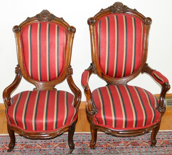 070003: VICTORIAN CARVED ROSEWOOD PARLOR CHAIRS 19THC