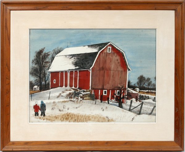 070005: CHARLES CULVER WATERCOLOR WINTER ON THE FARM
