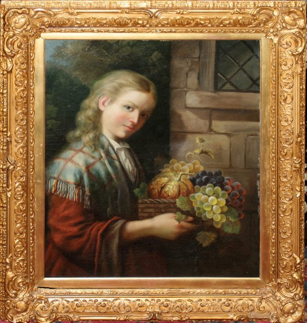 070009: J. LEIGHTON OIL YOUNG WOMAN CARRYING FRUIT