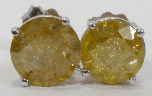 070016: WHITE GOLD AND 2CT YELLOW DIAMOND EARRINGS